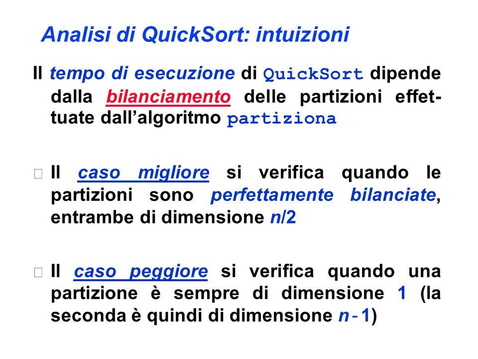 Analisi di QuickSort: intuizioni Il tempo di esecuzione di QuickSort dipende dalla bilanciamento delle partizioni effet- tuate dall'algoritmo partizio