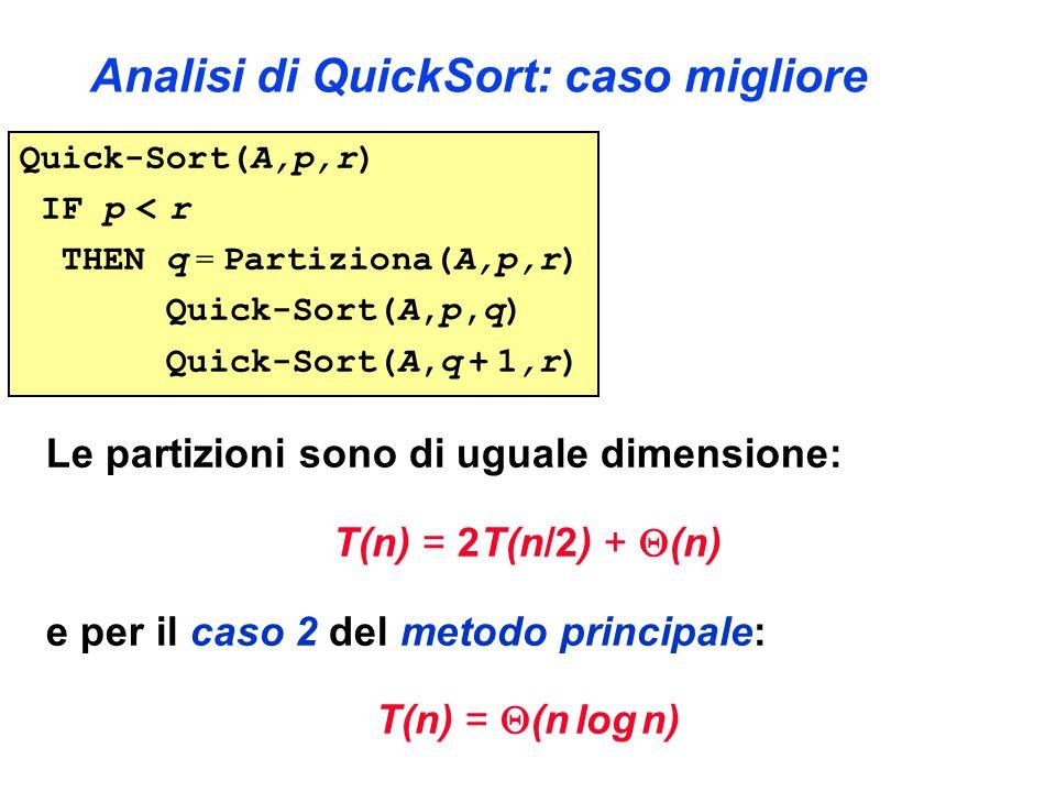 Analisi di QuickSort: caso migliore Le partizioni sono di uguale dimensione: T(n) = 2T(n/2) +  (n) e per il caso 2 del metodo principale: T(n) =  (n