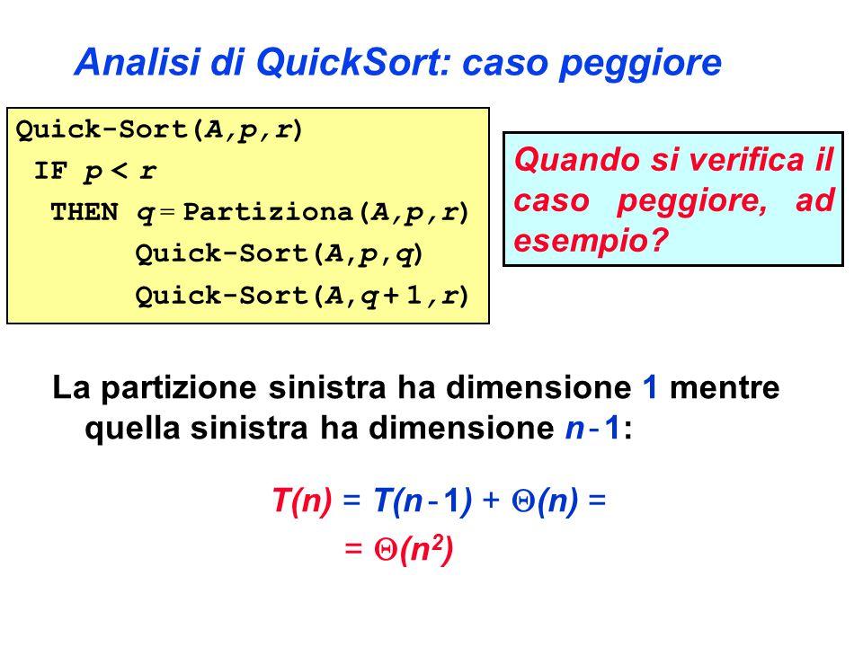 Analisi di QuickSort: caso peggiore La partizione sinistra ha dimensione 1 mentre quella sinistra ha dimensione n - 1: T(n) = T(n - 1) +  (n) = =  (