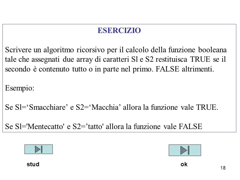 18 ESERCIZIO Scrivere un algoritmo ricorsivo per il calcolo della funzione booleana tale che assegnati due array di caratteri Sl e S2 restituisca TRUE se il secondo è contenuto tutto o in parte nel primo.