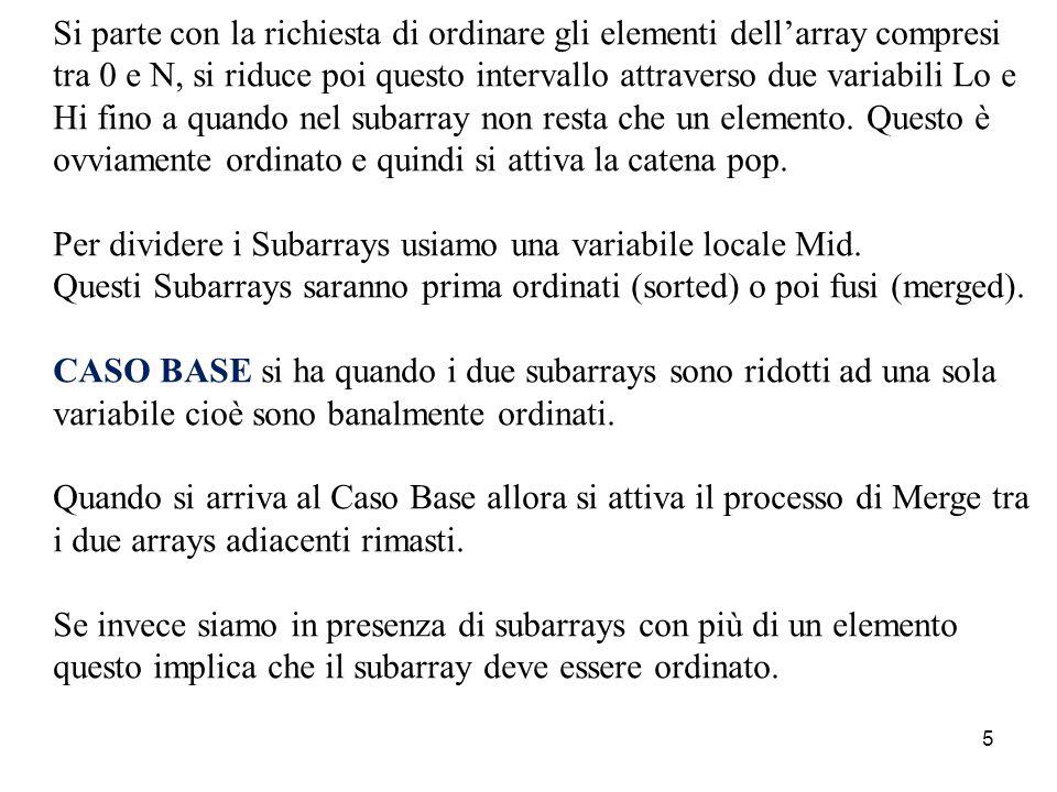 5 Si parte con la richiesta di ordinare gli elementi dell'array compresi tra 0 e N, si riduce poi questo intervallo attraverso due variabili Lo e Hi fino a quando nel subarray non resta che un elemento.