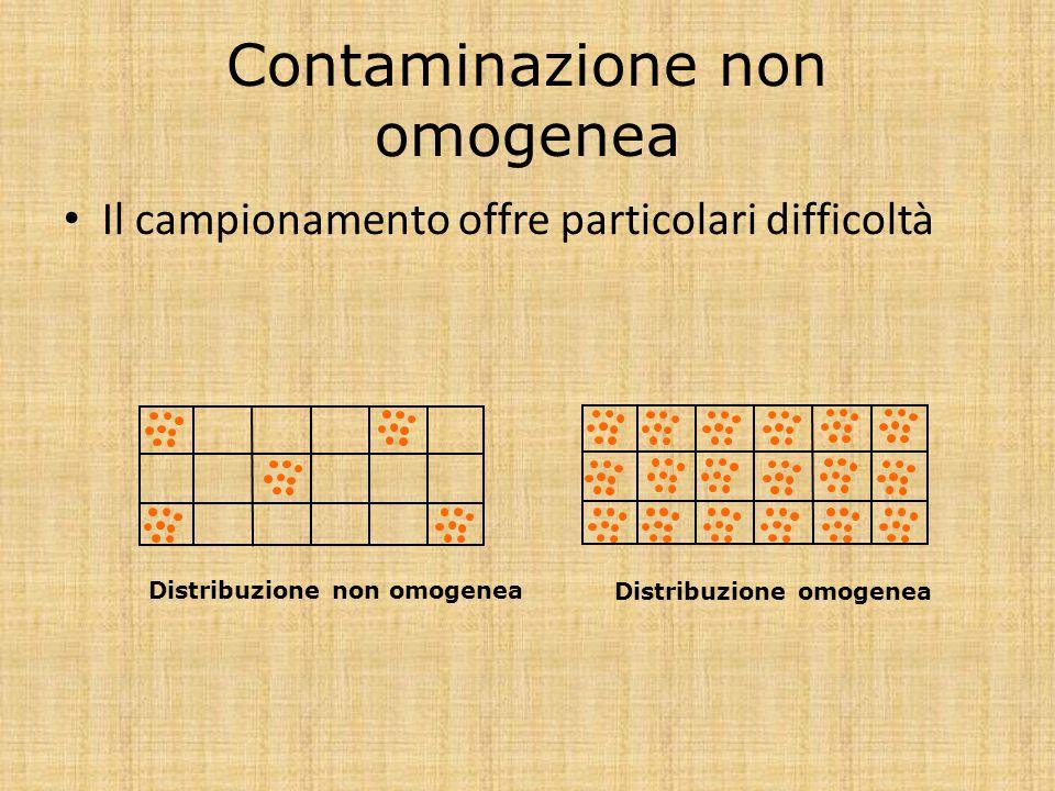 Contaminazione non omogenea Il campionamento offre particolari difficoltà Distribuzione non omogenea Distribuzione omogenea