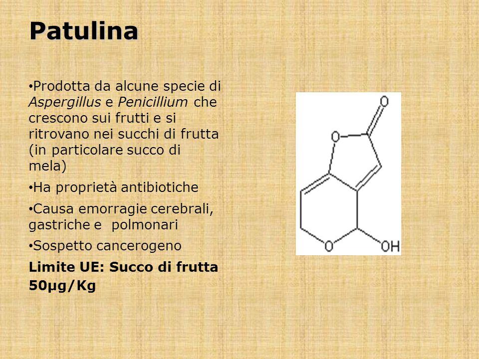 Patulina Prodotta da alcune specie di Aspergillus e Penicillium che crescono sui frutti e si ritrovano nei succhi di frutta (in particolare succo di m