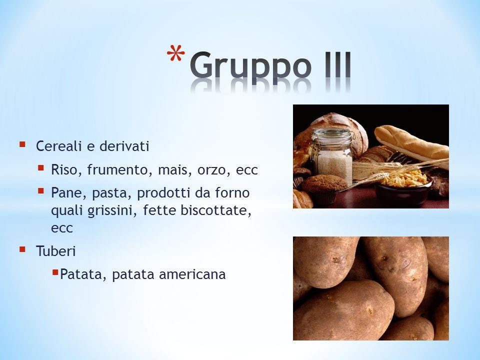  Cereali e derivati  Riso, frumento, mais, orzo, ecc  Pane, pasta, prodotti da forno quali grissini, fette biscottate, ecc  Tuberi  Patata, patat