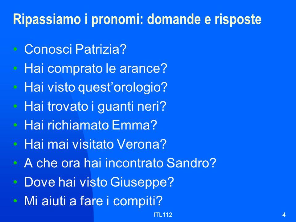 ITL1124 Ripassiamo i pronomi: domande e risposte Conosci Patrizia.
