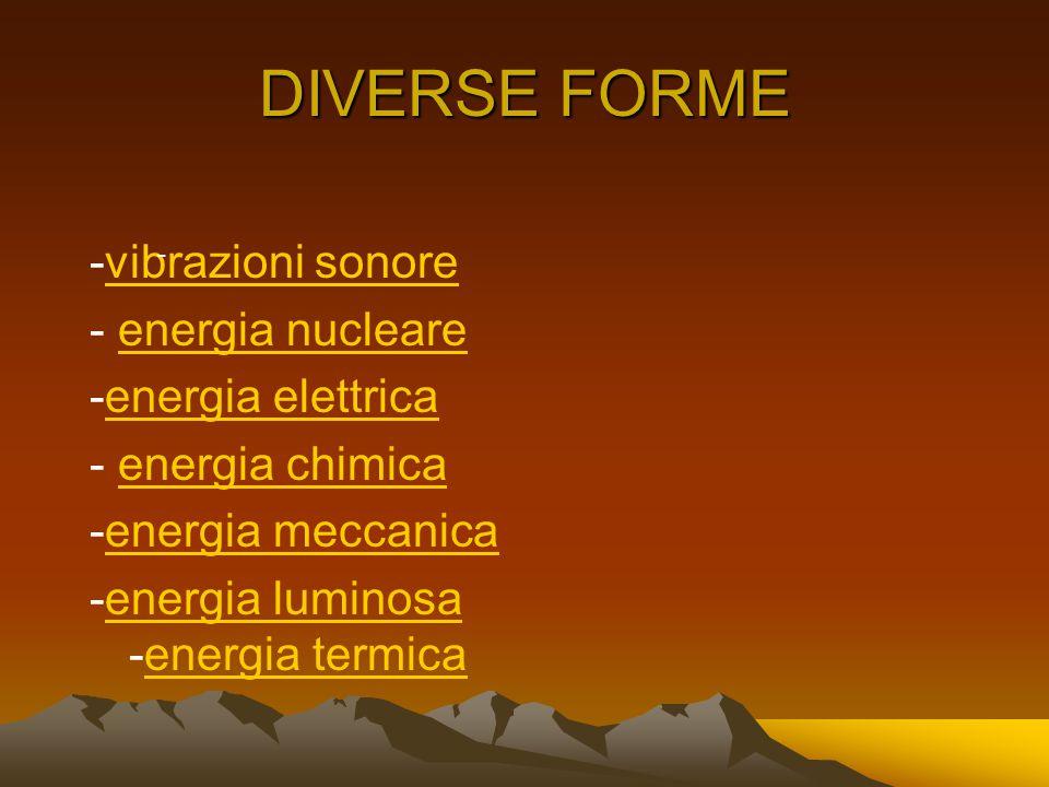 DIVERSE FORME -vibrazioni sonorevibrazioni sonore - energia nucleareenergia nucleare -energia elettricaenergia elettrica - energia chimicaenergia chimica -energia meccanicaenergia meccanica -energia luminosa -energia termicaenergia luminosaenergia termica -