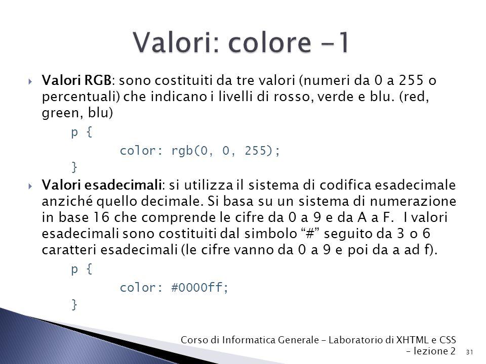  Valori RGB: sono costituiti da tre valori (numeri da 0 a 255 o percentuali) che indicano i livelli di rosso, verde e blu.