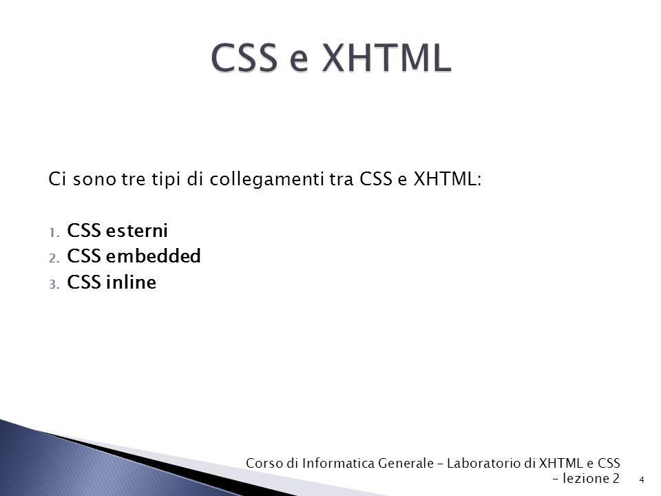 Ci sono tre tipi di collegamenti tra CSS e XHTML: 1.
