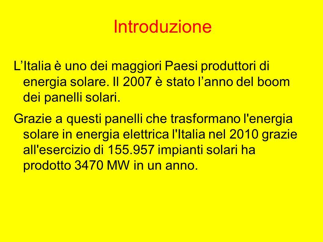Introduzione L'Italia è uno dei maggiori Paesi produttori di energia solare.