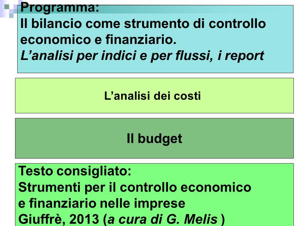 Il budget L'analisi dei costi Programma: Il bilancio come strumento di controllo economico e finanziario.
