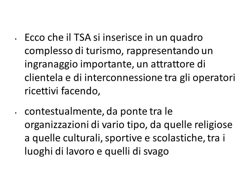 Ecco che il TSA si inserisce in un quadro complesso di turismo, rappresentando un ingranaggio importante, un attrattore di clientela e di interconness