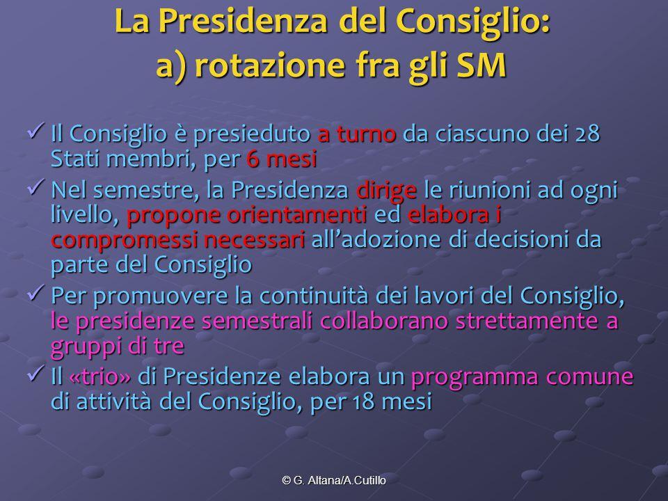 © G. Altana/A.Cutillo La Presidenza del Consiglio: a) rotazione fra gli SM Il Consiglio è presieduto a turno da ciascuno dei 28 Stati membri, per 6 me