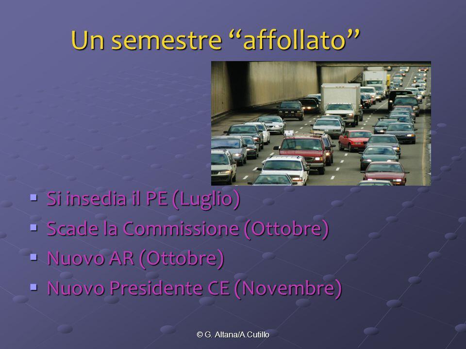 """© G. Altana/A.Cutillo Un semestre """"affollato""""  Si insedia il PE (Luglio)  Scade la Commissione (Ottobre)  Nuovo AR (Ottobre)  Nuovo Presidente CE"""