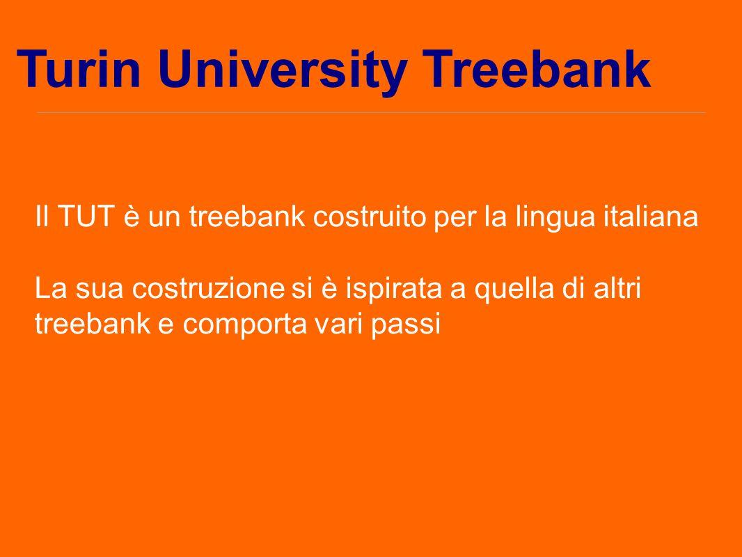 Il TUT è un treebank costruito per la lingua italiana La sua costruzione si è ispirata a quella di altri treebank e comporta vari passi Turin Universi