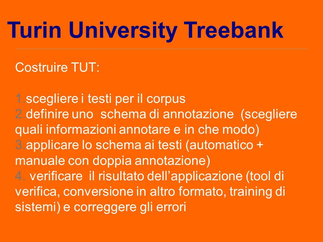 Costruire TUT: 1.scegliere i testi per il corpus 2.definire uno schema di annotazione (scegliere quali informazioni annotare e in che modo) 3.applicar