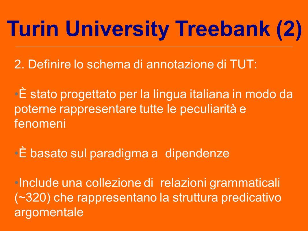 2. Definire lo schema di annotazione di TUT: È stato progettato per la lingua italiana in modo da poterne rappresentare tutte le peculiarità e fenomen