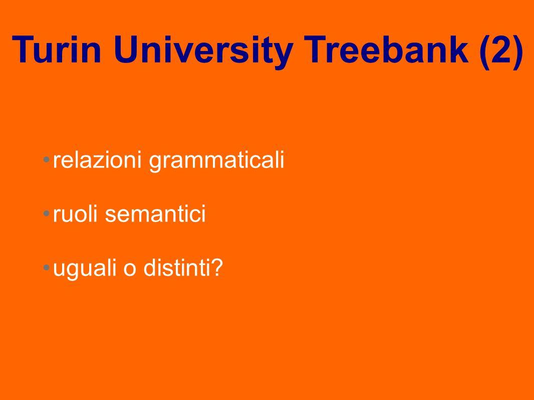 relazioni grammaticali ruoli semantici uguali o distinti? Turin University Treebank (2)