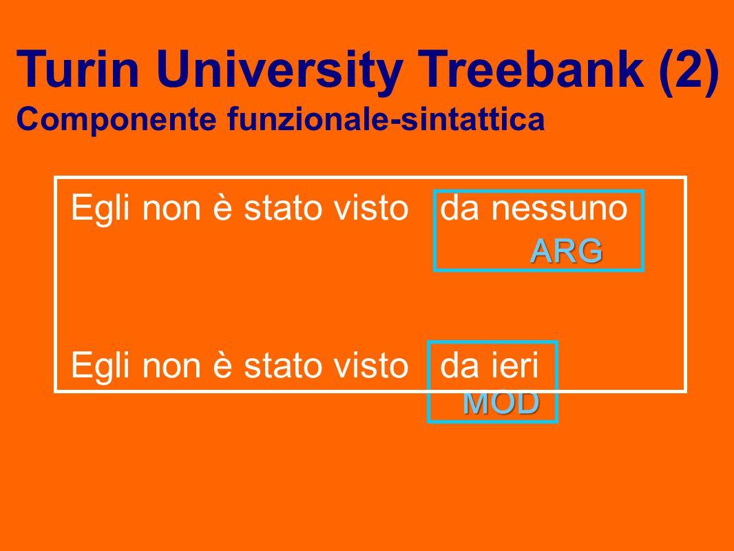 Egli non è stato visto da nessuno Egli non è stato visto da ieri ARG ARG MOD MOD Turin University Treebank (2) Componente funzionale-sintattica