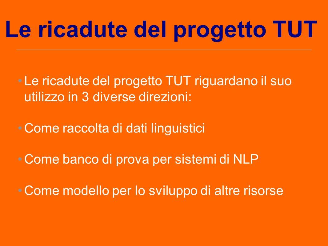 Le ricadute del progetto TUT Le ricadute del progetto TUT riguardano il suo utilizzo in 3 diverse direzioni: Come raccolta di dati linguistici Come ba