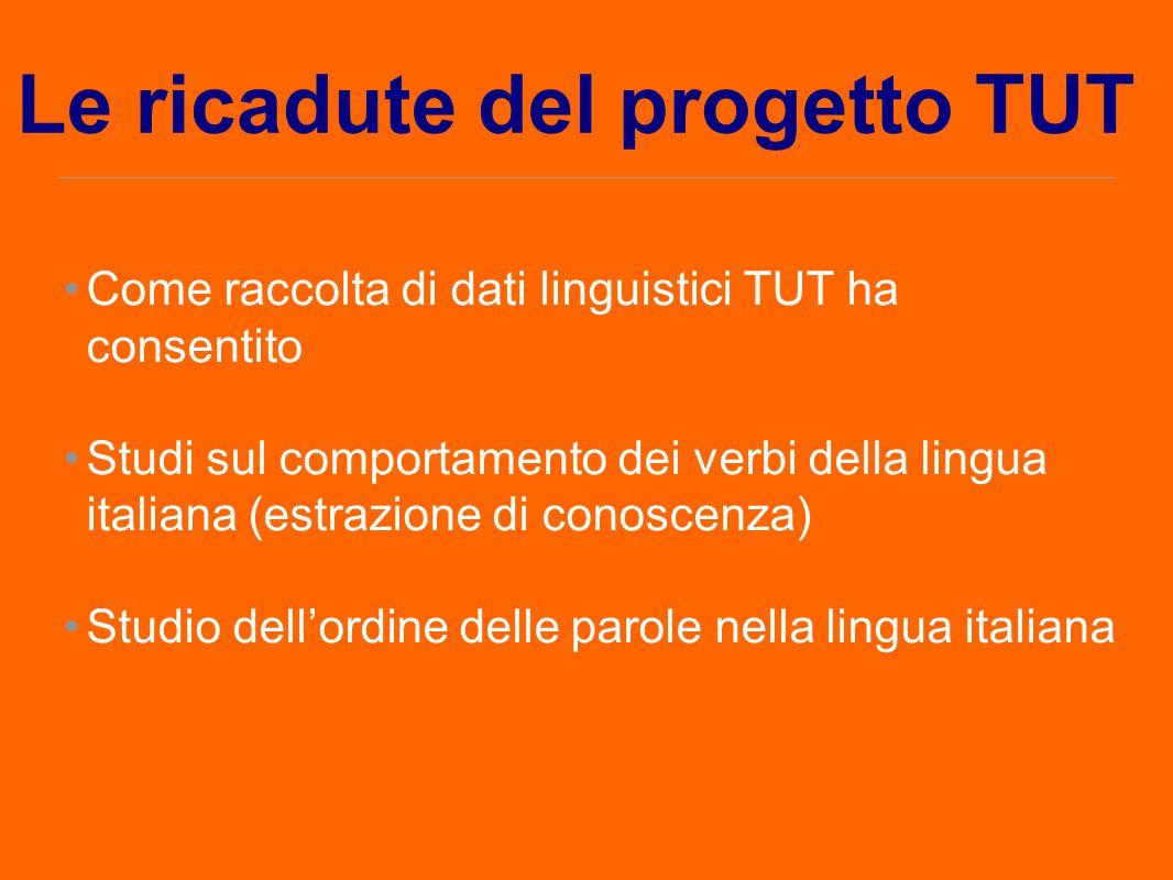 Come raccolta di dati linguistici TUT ha consentito Studi sul comportamento dei verbi della lingua italiana (estrazione di conoscenza) Studio dell'ord