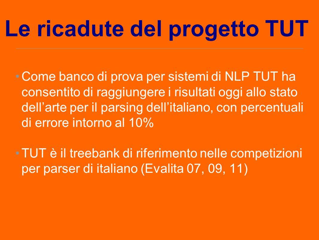 Come banco di prova per sistemi di NLP TUT ha consentito di raggiungere i risultati oggi allo stato dell'arte per il parsing dell'italiano, con percen