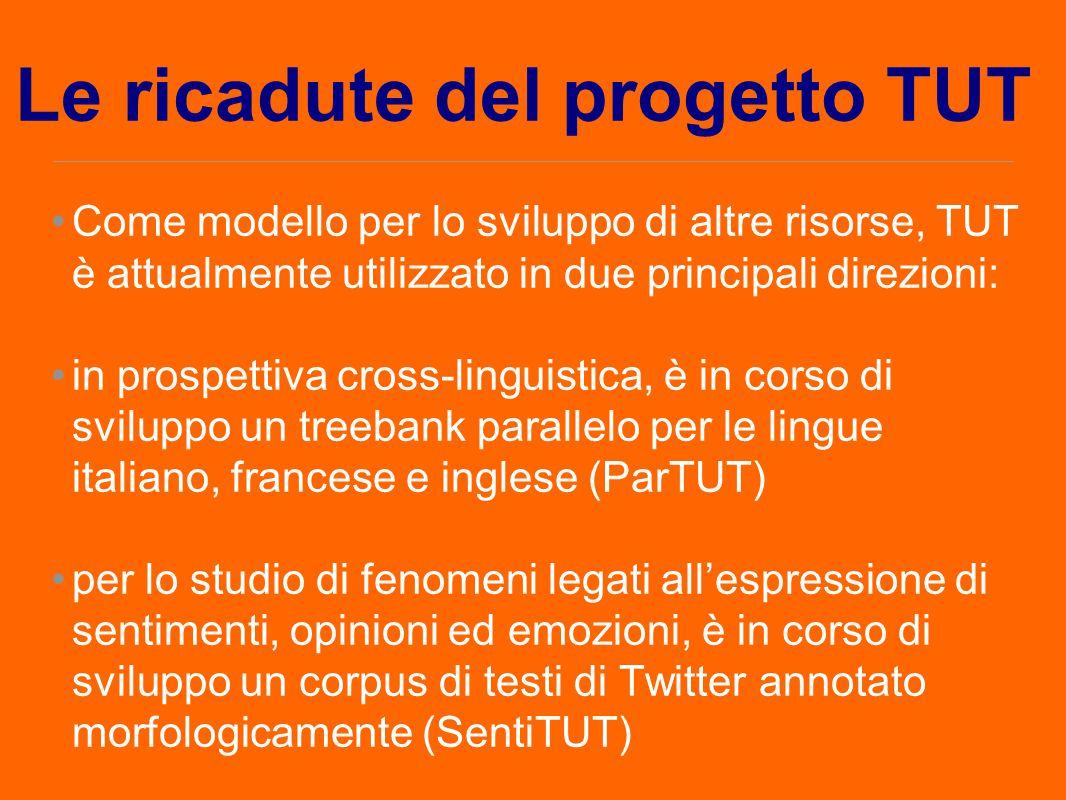 Le ricadute del progetto TUT Come modello per lo sviluppo di altre risorse, TUT è attualmente utilizzato in due principali direzioni: in prospettiva c
