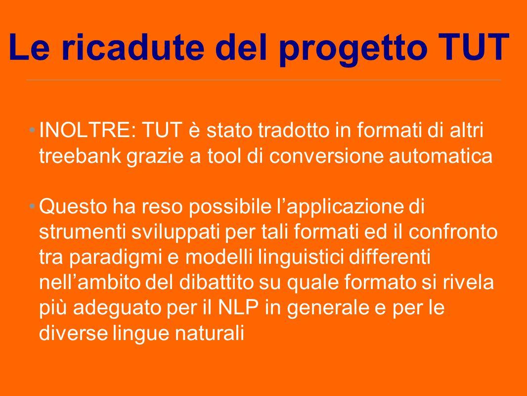 Le ricadute del progetto TUT INOLTRE: TUT è stato tradotto in formati di altri treebank grazie a tool di conversione automatica Questo ha reso possibi