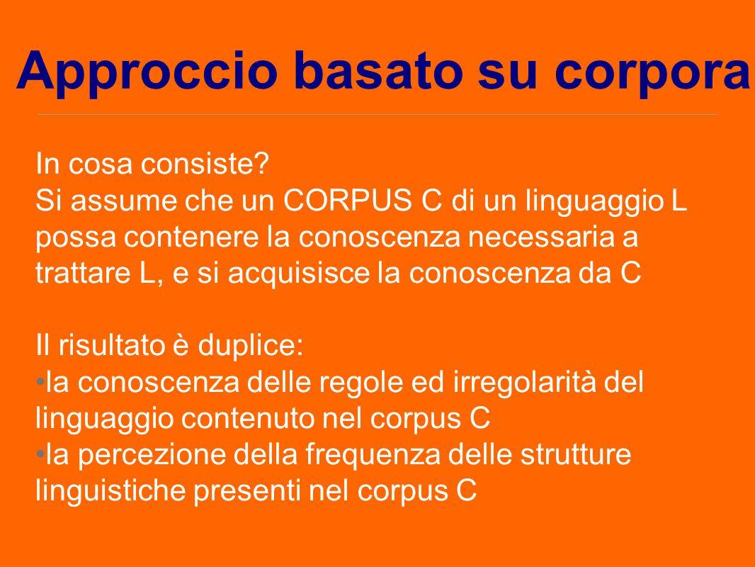 In cosa consiste? Si assume che un CORPUS C di un linguaggio L possa contenere la conoscenza necessaria a trattare L, e si acquisisce la conoscenza da