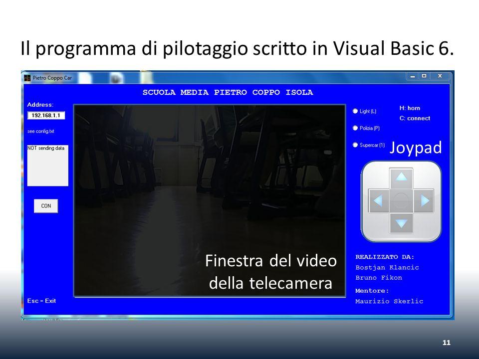 Il programma di pilotaggio scritto in Visual Basic 6. 11 Joypad Finestra del video della telecamera