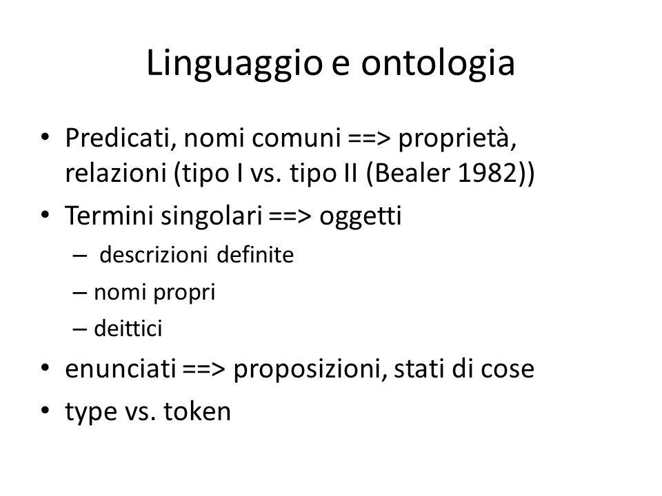 Linguaggio e ontologia Predicati, nomi comuni ==> proprietà, relazioni (tipo I vs.