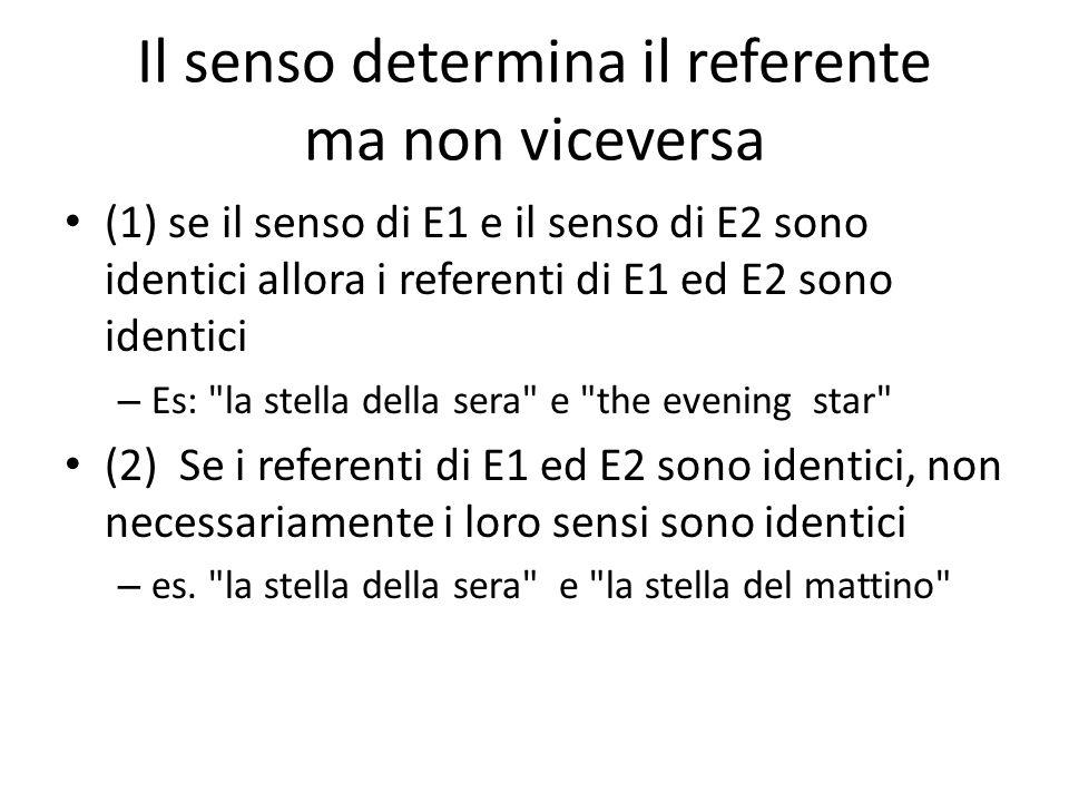 Il senso determina il referente ma non viceversa (1) se il senso di E1 e il senso di E2 sono identici allora i referenti di E1 ed E2 sono identici – Es: la stella della sera e the evening star (2) Se i referenti di E1 ed E2 sono identici, non necessariamente i loro sensi sono identici – es.