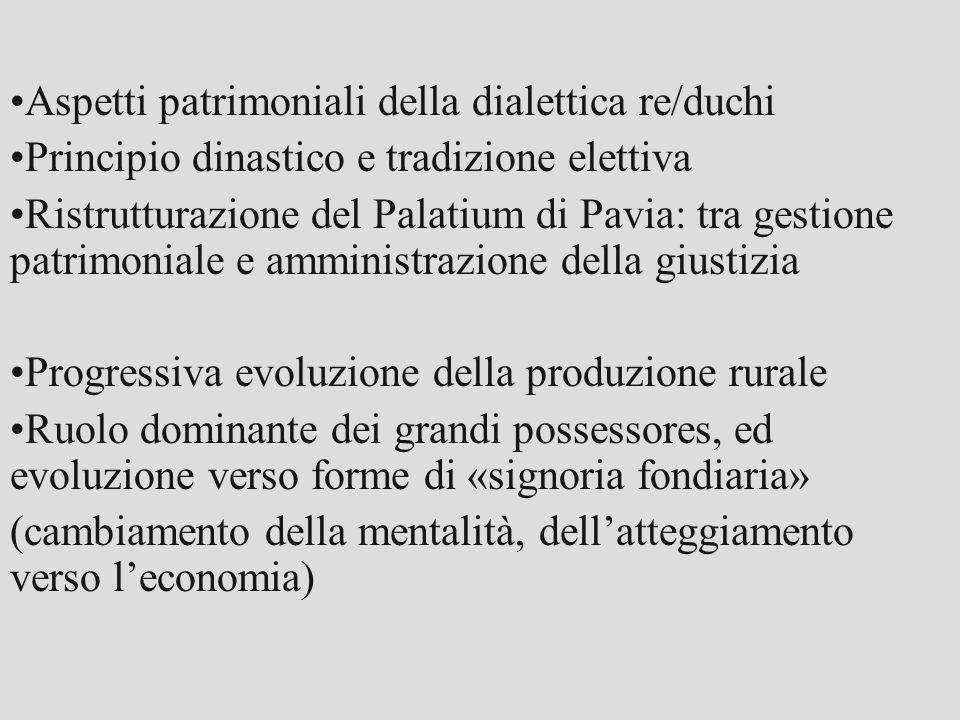 Aspetti patrimoniali della dialettica re/duchi Principio dinastico e tradizione elettiva Ristrutturazione del Palatium di Pavia: tra gestione patrimon