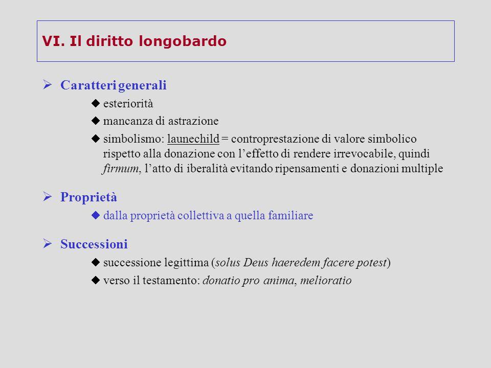 VI. Il diritto longobardo  Caratteri generali  esteriorità  mancanza di astrazione  simbolismo: launechild = controprestazione di valore simbolico