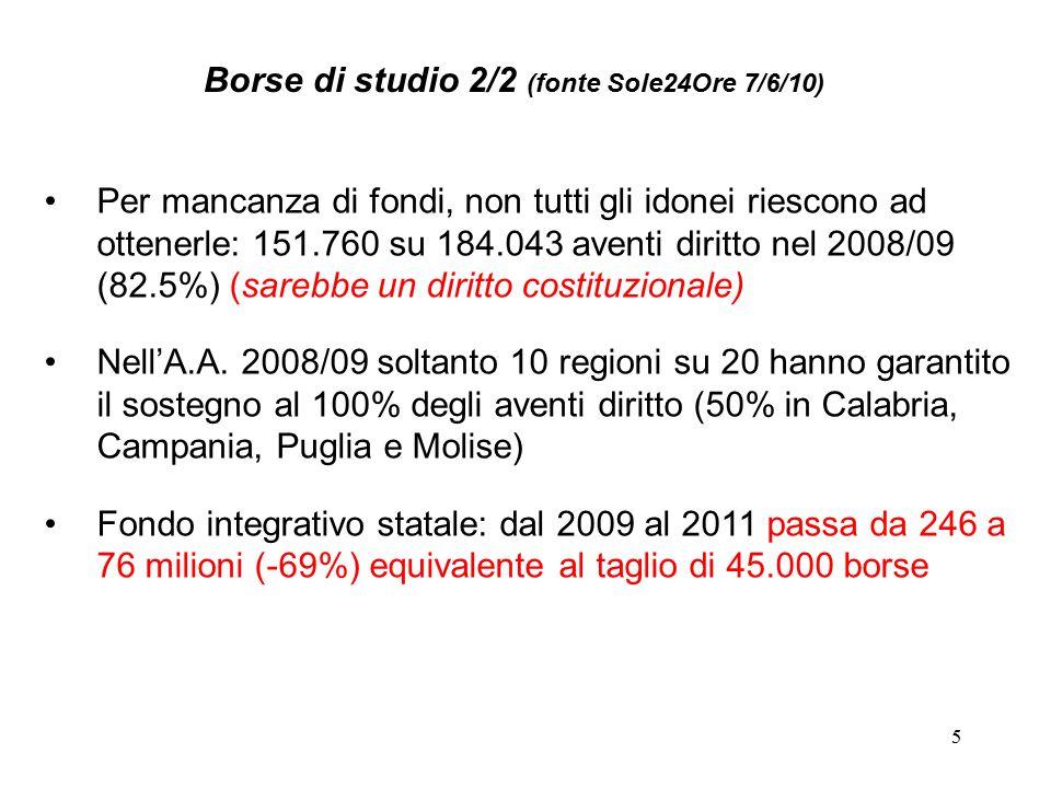 5 Per mancanza di fondi, non tutti gli idonei riescono ad ottenerle: 151.760 su 184.043 aventi diritto nel 2008/09 (82.5%) (sarebbe un diritto costitu