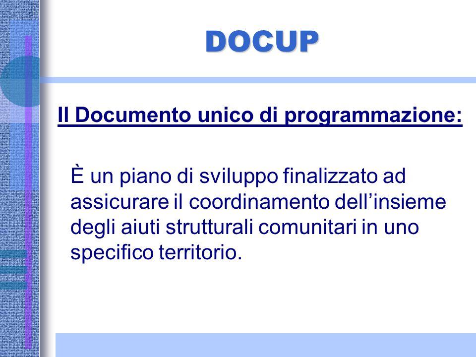 Doc.U.P. La regione presenta alla Commissione il Doc.U.P. : riunisce elementi contenuti nel QCS e in un P.O. Dopo l'adozione del DocUP, con decisione