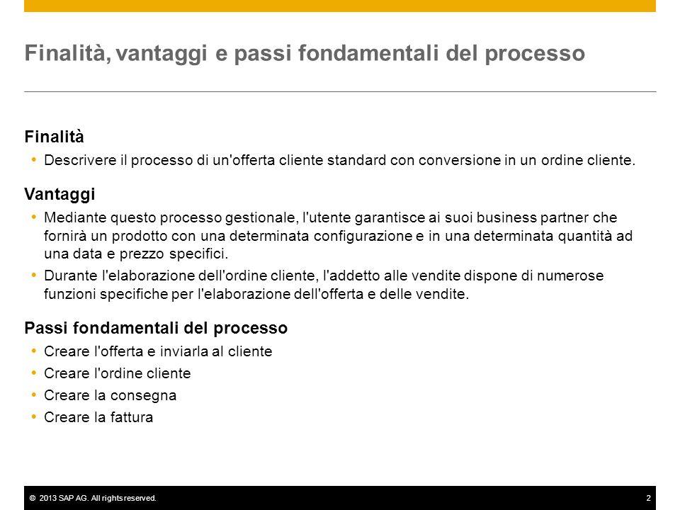 ©2013 SAP AG. All rights reserved.2 Finalità, vantaggi e passi fondamentali del processo Finalità  Descrivere il processo di un'offerta cliente stand