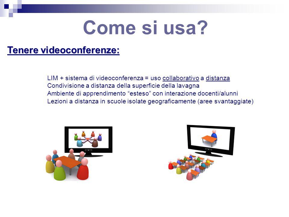 Come si usa? Tenere videoconferenze: LIM + sistema di videoconferenza = uso collaborativo a distanza Condivisione a distanza della superficie della la