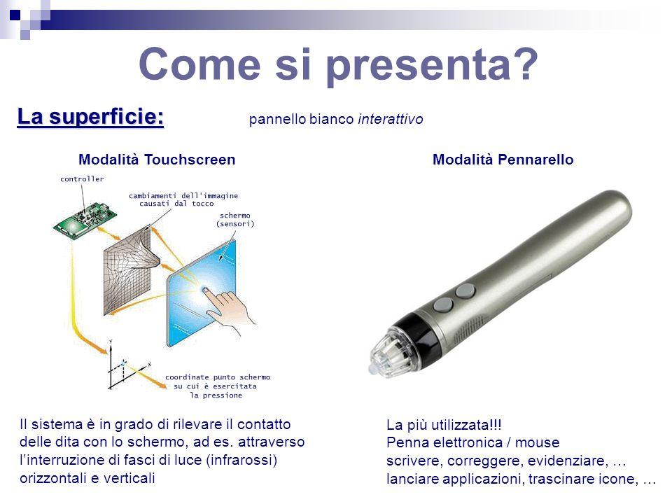 Come si presenta? La superficie: Modalità PennarelloModalità Touchscreen Il sistema è in grado di rilevare il contatto delle dita con lo schermo, ad e