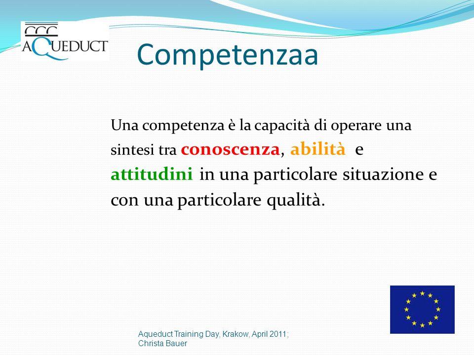 Competenzaa Una competenza è la capacità di operare una sintesi tra conoscenza, abilità e attitudini in una particolare situazione e con una particolare qualità.
