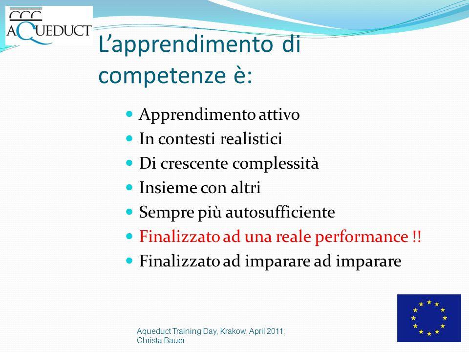 L'apprendimento di competenze è: Apprendimento attivo In contesti realistici Di crescente complessità Insieme con altri Sempre più autosufficiente Finalizzato ad una reale performance !.