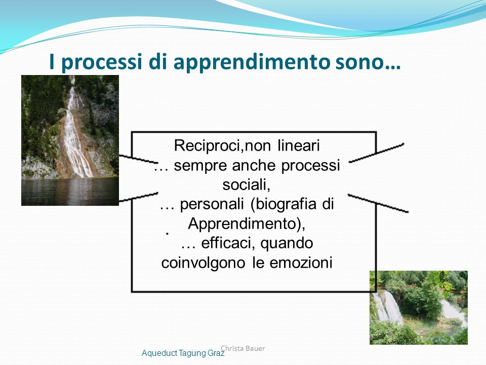 Aqueduct Tagung Graz I processi di apprendimento sono… Christa Bauer Reciproci,non lineari … sempre anche processi sociali, … personali (biografia di Apprendimento), … efficaci, quando coinvolgono le emozioni