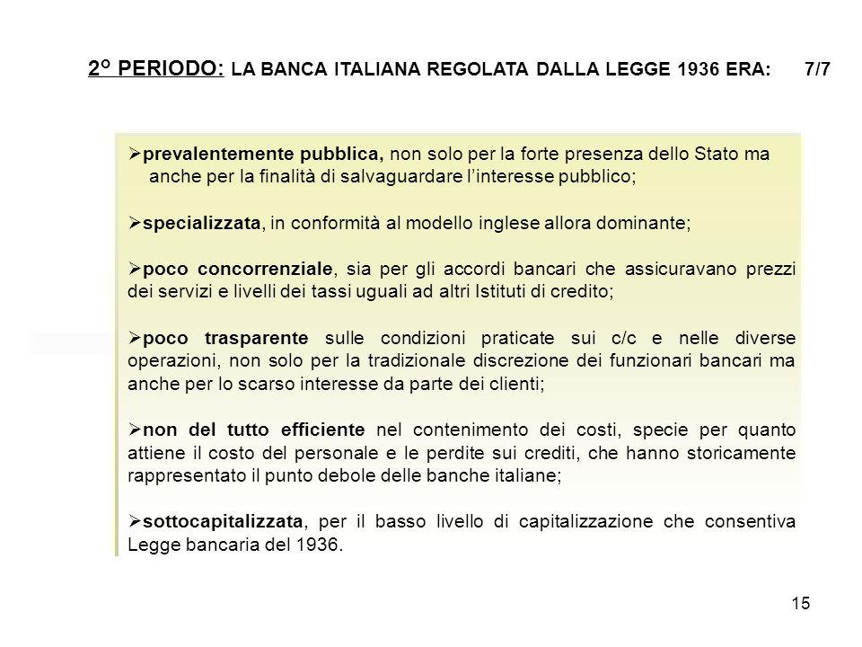 15 2° PERIODO: LA BANCA ITALIANA REGOLATA DALLA LEGGE 1936 ERA: 7/7  prevalentemente pubblica, non solo per la forte presenza dello Stato ma anche pe