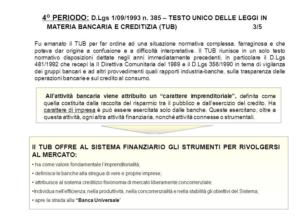 19 4° PERIODO: D.Lgs 1/09/1993 n. 385 – TESTO UNICO DELLE LEGGI IN MATERIA BANCARIA E CREDITIZIA (TUB) 3/5 Fu emanato il TUB per far ordine ad una sit