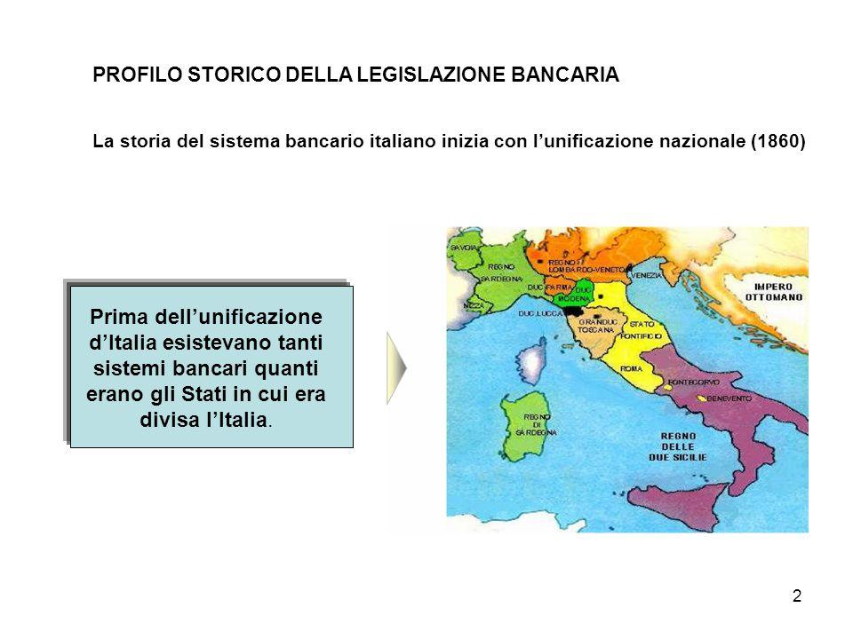 2 PROFILO STORICO DELLA LEGISLAZIONE BANCARIA La storia del sistema bancario italiano inizia con l'unificazione nazionale (1860) Prima dell'unificazio