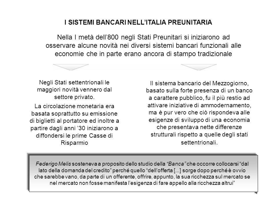4 I SISTEMI BANCARI NELL'ITALIA PREUNITARIA Nella I metà dell'800 negli Stati Preunitari si iniziarono ad osservare alcune novità nei diversi sistemi