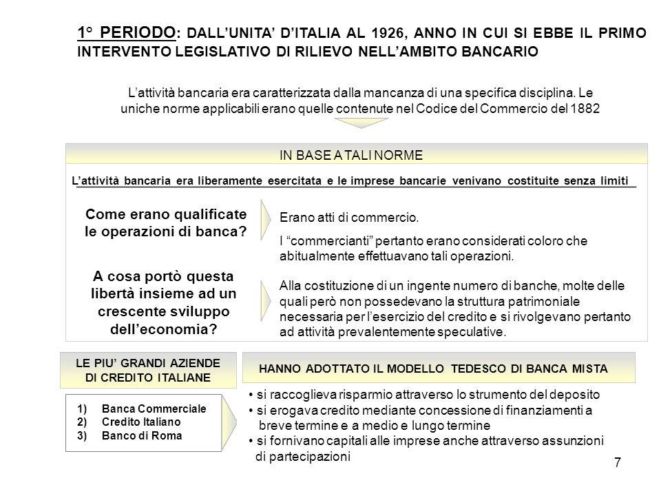 8 1° PERIODO : DALL'UNITA' D'ITALIA AL 1926, ANNO IN CUI SI EBBE IL PRIMO INTERVENTO LEGISLATIVO DI RILIEVO NELL'AMBITO BANCARIO DURANTE LA 1° GUERRA MONDIALE LE BANCHE FINANZIARONO LE INDUSTRIE BELLICHE CON PRESTITI A MEDIO E LUNGO TERMINE E SI TROVARONO POI IN DIFFICOLTA' POICHÈ LE INDUSTRIE NON RESTITUIRONO PIÙ I PRESTITI RICEVUTI