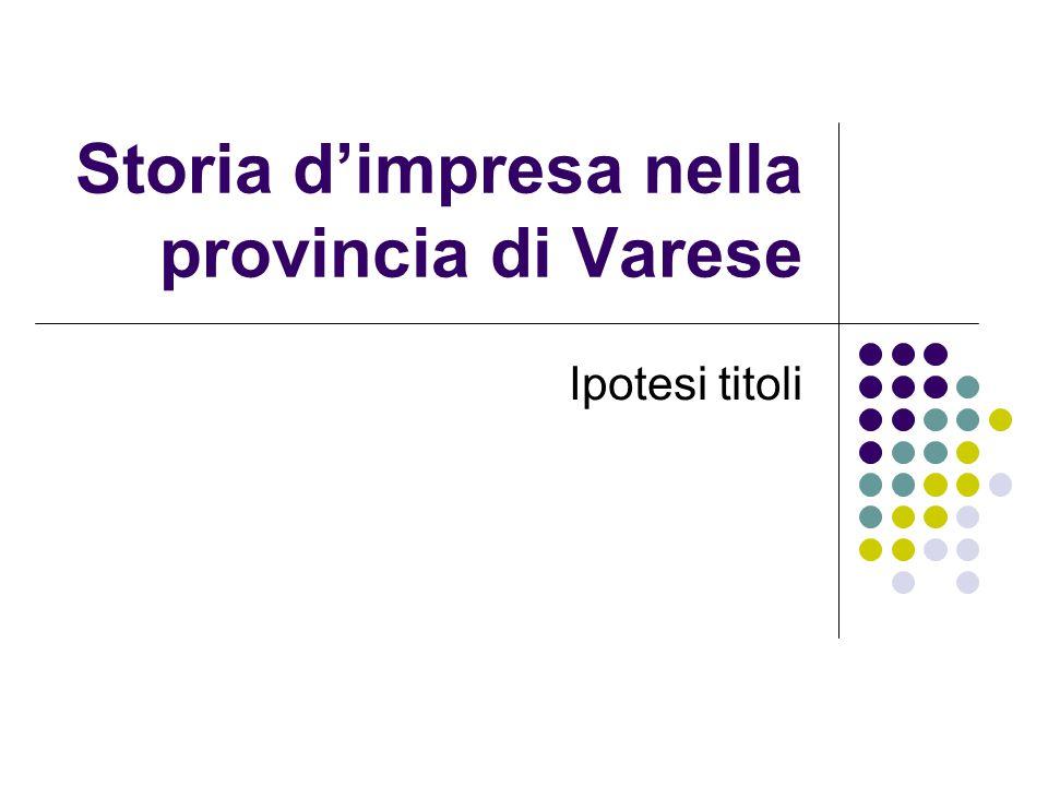 Storia d'impresa nella provincia di Varese Ipotesi titoli