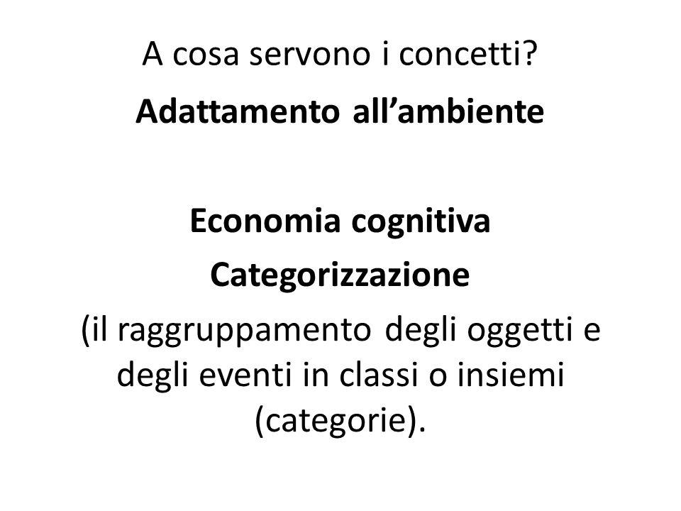 Adattamento all'ambiente Economia cognitiva Categorizzazione (il raggruppamento degli oggetti e degli eventi in classi o insiemi (categorie). A cosa s