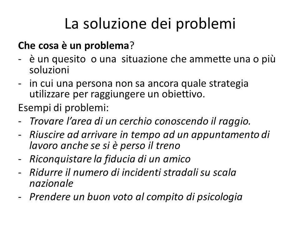 La soluzione dei problemi Che cosa è un problema? -è un quesito o una situazione che ammette una o più soluzioni -in cui una persona non sa ancora qua