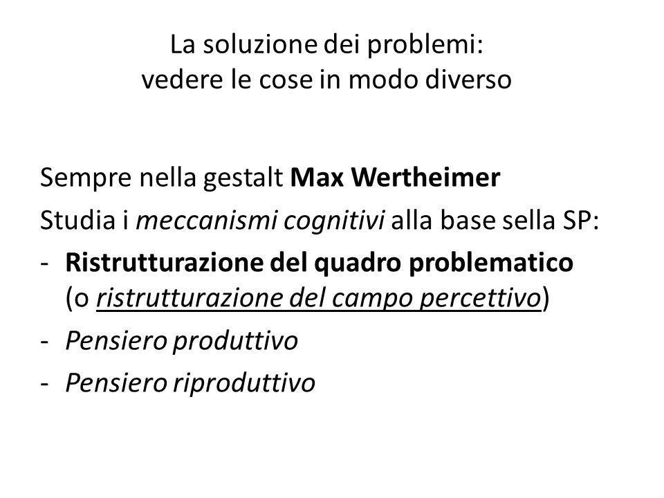 La soluzione dei problemi: vedere le cose in modo diverso Sempre nella gestalt Max Wertheimer Studia i meccanismi cognitivi alla base sella SP: -Ristr